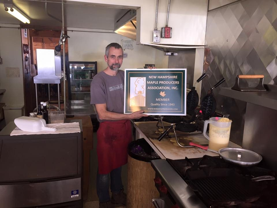 Patrick Connor of the highly rated Intervale Farm Pancake House and longtime host of the Henniker NHMPA Regional Meeting with his new membership sign